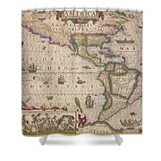 Antique Map Of America Shower Curtain