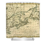 Antique Map Of Eastern Canada Shower Curtain