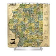Antique Map Of Indianapolis By The Parry Mfg Company - Historical Map Shower Curtain
