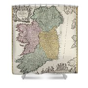 Antique Map Of Ireland Showing The Provinces Shower Curtain by Johann Baptist Homann