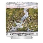 Antique Map Of Mystic Connecticut Shower Curtain