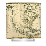 Antique Map Of North America Shower Curtain
