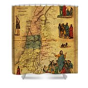 Antique Map Of Palestine 1856 On Worn Parchment Shower Curtain