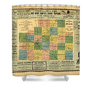Antique Map Of The Mclean County - Business Advertisements - Historical Map Shower Curtain