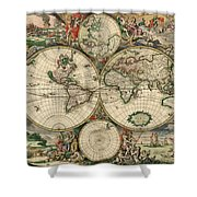 Antique Map Of The World - 1689 Shower Curtain