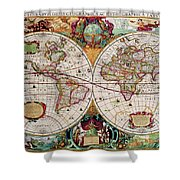 Antique Map Of The World - Double Hemisphere Shower Curtain