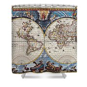 Antique Maps Of The World Joan Blaeu C 1662 Shower Curtain