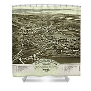 Antique Maps - Old Cartographic Maps - Antique Bird's Eye Map Of Sandwich, Massachusetts, 1884 Shower Curtain