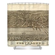 Antique Maps - Old Cartographic Maps - Antique Birds Eye View Map Of Cleveland, Ohio, 1877 Shower Curtain