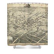 Antique Maps - Old Cartographic Maps - Antique Birds Eye View Map Of Denton, Texas, 1883 Shower Curtain