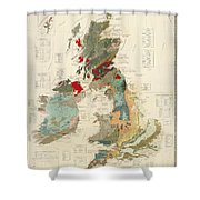 Antique Maps - Old Cartographic Maps - Antique Geological Map Of The British Islands Shower Curtain