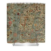 Antique Maps - Old Cartographic Maps - Antique Map Of Scandinavia In Latin, 1539 Shower Curtain