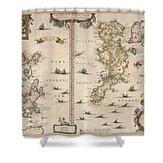 Antique Maps - Old Cartographic Maps - Antique Map Of Schetland And Orkney Islands - Scotland,1654 Shower Curtain