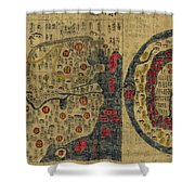 Antique Maps - Old Cartographic Maps - Antique Map Chinese Map Of The World, Ming Era Shower Curtain