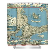 Antique Maps - Old Cartographic Maps - Antique Map Of Cape Cod, Massachusetts, 1945 Shower Curtain