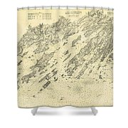 Antique Maps - Old Cartographic Maps - Antique Map Of Casco Bay, Maine, 1870 Shower Curtain