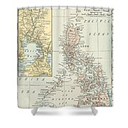 Antique Maps - Old Cartographic Maps - Antique Map Of Philippine Islands And Manila Bay, 1898 Shower Curtain