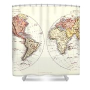 Antique Maps - Old Cartographic Maps - Antique Map Of The Eastern And Western Hemisphere, 1850 Shower Curtain