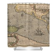 Antique Maps - Old Cartographic Maps - Antique Map Of The Pacific Ocean - Mar Del Zur, 1589 Shower Curtain