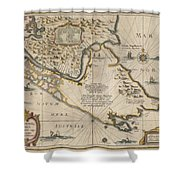 Antique Maps - Old Cartographic Maps - Antique Map Of The Strait Of Magellan, South America, 1635 Shower Curtain