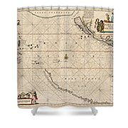 Antique Maps - Old Cartographic Maps - Antique Map Of The Strait Of Magellan, South America, 1650 Shower Curtain