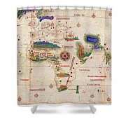 Antique Maps - Old Cartographic Maps - Antique Map Of The World, 1502 Shower Curtain