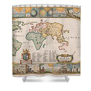 Antique Maps - Old Cartographic Maps - Antique Map Of The World Shower Curtain