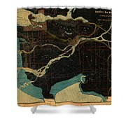 Antique Maps - Old Cartographic Maps - Antique Map Of Vancouver, New Westminster, Steveston Shower Curtain