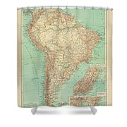 Antique Maps - Old Cartographic Maps - Antique Russian Map Of South America Shower Curtain