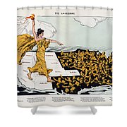 Antique Map Of The United States Of America - The Spirit Of Liberty - The Awakening, 1915 Shower Curtain