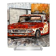 Antique Old Truck Painting Shower Curtain