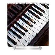 Antique Piano Keys From Above With Hardwood Floor Shower Curtain