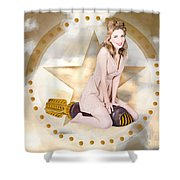Antique Pin-up Girl On Missile. Bombshell Blond Shower Curtain