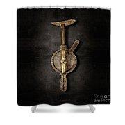 Antique Shoulder Drill Backside On Black Shower Curtain