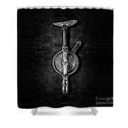 Antique Shoulder Drill Bk Bw Shower Curtain