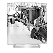 Antique Steel Wheel Tractor Black And White Shower Curtain