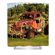 Antique Vehicle As A Planter Shower Curtain