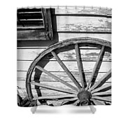 Antique Wagon Wheel In Black And White Shower Curtain