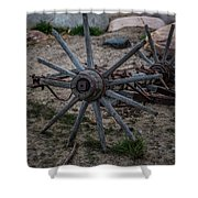 Antique Wagon Wheel Shower Curtain