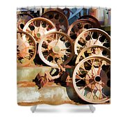Antique Wagon Wheels And Baskets Shower Curtain