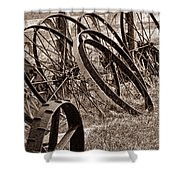 Antique Wagon Wheels II Shower Curtain