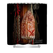 Antique Wood Lobster Buoy Red And White Shower Curtain