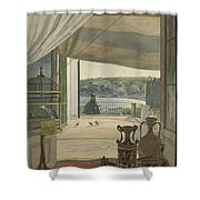 Antiquities By A Balcony Overlooking The Gulf Of Naples Shower Curtain