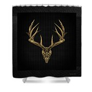Antlered Skulls - Gold Deer Skull X-ray Over Black Canvas No.1 Shower Curtain