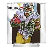 Antonio Brown Pittsburgh Steelers Oil Art 4  Shower Curtain