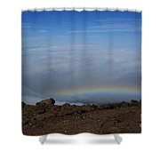 Anuenue - Rainbow At The Ahinahina Ahu Haleakala Sunrise Maui Hawaii Shower Curtain