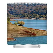 Aoos Lake Shore In Epirus, Greece Shower Curtain
