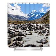 Aoraki Mount Cook Hooker Valley Southern Alps Nz Shower Curtain