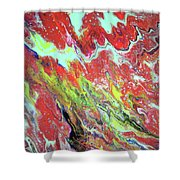 Ap-red And Aqua Shower Curtain
