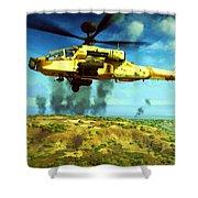 Apache Ai Assault - Operation Desert Wolves Shower Curtain